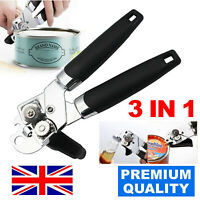 Heavy Duty Can Opener 3in1 Cutter Stainless Steel Easy Comfy Handle Grip Kitchen
