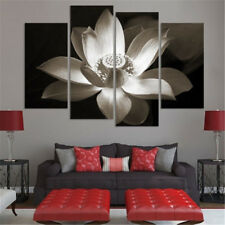 Set of 4 Large White Lotus Flower Prints Wall Decor Art Oil Painting on Canvas