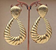 "18K Gold Filled 3"" Earring Oversize Waterdrop Hollow Ear Stud Party Jewelry DS"