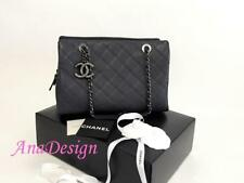 $4200 Authentic CHANEL Chic Classic CC Blue Bowler 30cm Large Shopping Tote