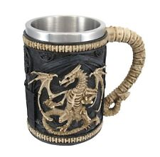 Dragon Skeleton Fossil Beer Mug Stein Tankard Stainless Steel Decor