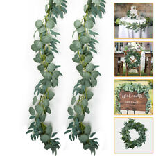 Green Artificial Eucalyptus Garland Fake Willow Leaves Vine Ivy Wreath Wedding