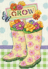 Cross Stitch Mini Kit ~ Dimenions Grow Colorful Garden Boots #70-65127 OOP SALE!