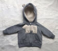 Carter's Baby Jacket Size 3 M Grey Gray Hoodie Bear Ears 🍼 🐻