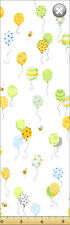 Susybee's Lewe's balloons  White 100% cotton fabric by the yard
