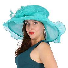 elegante Cappello da donna Verde Organza sposa di matrimonio NUOVO