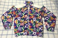 Womens VTG 90s Jacket RARE Size XL Silk Flag Print Colorblock Shoulder Pads