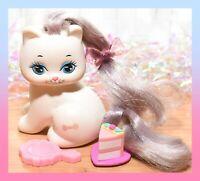 ❤️Vtg Mattel Little Pretty KITTY My Little Pony BOW Polished Paws White Cat❤️