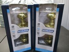 Schlage Plymouth Bright Brass Steel Privacy Bed/Bath F40 Ply 605 Lot Of 2