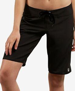Volcom Women's Simply Solid 11-Inch Classic Swim Boardshort, Black Size 7