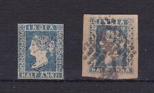BC93) India 1854 Half Anna Blue Imperfs. Dies 1 & 2, SG Nos. 2 & 6 fine used