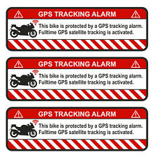 3x GPS Autocollant Moto Alarme Avertissement anti vol Sticker Tracker sauvegardés