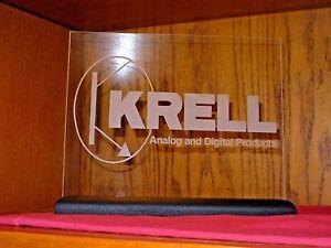 KRELL ETCHED GLASS SIGN W/BLACK OAK BASE