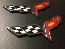 Chevrolet Corvette C6 Z06 Grand Sport GM 3D Chrome Emblem Crossed Flags