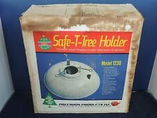 "Vintage aluminum Christmas Tree stand holder w/box 17"" white gold glitter"
