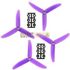 "HQ 5"" 5x4x3 Glass Fiber Tri-Blade Propellers Props CCW/CW Multirotor Quad Purple"