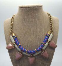J CREW Pink Blue Rope Statement Gem Jeweled Necklace