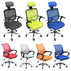 Ergonomic Mesh Office Chair Adjustable Executive High Back Swivel Fabric Chrome
