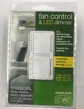 LUTRON FAN CONTROL & LED DIMMER MACL-LFQH-WH NEW!!