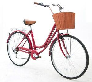 Spring 700c Ladies Girls City Dutch Shopper Bicycle Bikes 6 speeds Shimano gears
