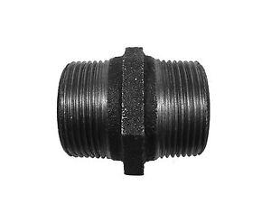 "1-1/4"" BSP Black Malleable Iron Hex Nipple | Threaded Plumbing Fitting"