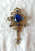 Vintage Blue Rhinestone 50s 60s Victoriana Gold Tone Tassel Drop Dangle Brooch