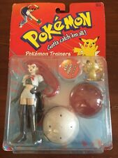 Vintage 1999 Pokemon Trainers - Jesse Figure with #52 Meowth Hasbro Nintendo