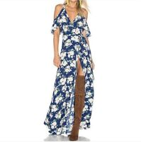 PRIVACY PLEASE Revolve Floral Blue V-Neck Acme Wrap Front Tie Maxi Dress Large