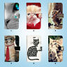 Cute Kitten Cat Wallet Case Cover Samsung Galaxy S3 4 5 6 7 8 Edge Note Plus 052