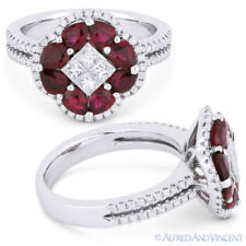 Pave 18k White Gold Right-Hand Flower Ring 2.18 ct Pear-Shape Red Ruby & Diamond