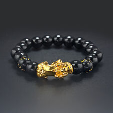 A Gold Chinese Dragon Pixiu Brave Troops Bracelet With Black Beads For Lucky