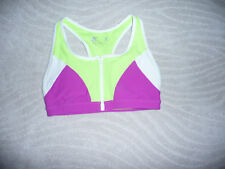 XERSION,Sports Bra Fitted~M~FRONT Zip,Mesh,White/Green/Purple,Polyester/Spande