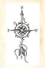 "US Seller- arrow compass 8.25"" temporary tattoo cheap fake tattoos"