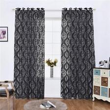Rideau Voilage de Fenêtre Floral Décoration pour Chambre Salon Maison Noir