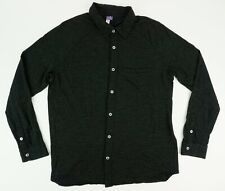 Ibex OD Men's Large Long Sleeve Charcoal Gray Heathered Wool Button Up Shirt