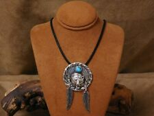 Feather Pendant on Black Chord Sterling Silver Turquoise Bear and