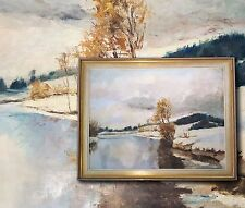 Alpine Paisaje de invierno, original Pintura al óleo. Düsseldorf Pintor, firmado