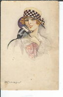 AX-039 Woman with Monkey, Artist Signed by Mauzan, 1915-30 Postcard Early Modrn