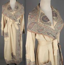 VTG Women's 1920s 1930s Ivory Silk Robe w Paisley Tapestry Trim 20s 30s #1959