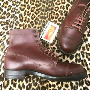 RARE 1920s MEN CAP TOE LACE UP EATON BOOTS ~BROWN LEATHER~ MADE IN ENGLAND ~ 8