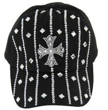 Fleur De Lis Cross with Rhinestone Black Hat Cap with Adjustable Strap BLING