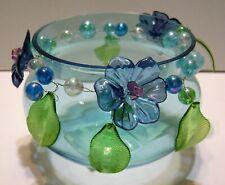 Pfaltzgraff Decorative Dish - Bowl Glassware Blue Glass w/Flowers & Beads (New)