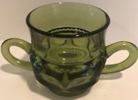 Vintage Indiana Glass Kings Crown Thumbprint Olive Green Replacement Sugar Bowl