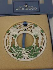 Wedgwood White Jasper Ornament 4Th Annual Wreath With Hanger & Box