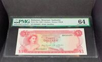 PMG Graded Bahamas, Monetary Authority P28a 1968 $3 Banknote Choice Unc 64