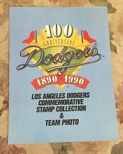 Los Angeles Dodgers Team Photo And Commemorative Stamp Collection 100 Years