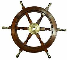Vintage SHIP WHEEL 24 Inch BRASS Collectible Nautical Wooden Wall Decor Brown