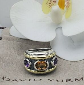 David Yurman  Renaissance w/Citrine, Amethyst & 14K band ring Size 6