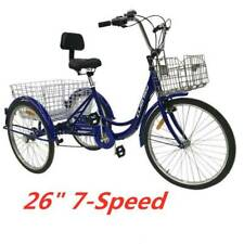 Blue Double Basket 26''Adult Tricycle Trike 3-Wheel Cruise Bike For Shopping US