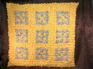 "Yoyo cotton lap quilt/throw, 39""Wx37""L yellow theme w/9 colorful ""squares"""